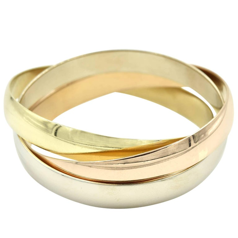 Cartier Trinity Bangle Bracelet Tri-Tone 18 Karat Gold