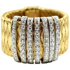 Roberto Coin Diamond Primavera Mesh Band 18 Karat Yellow Gold
