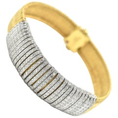 Roberto Coin Diamond Rows Primavera Collection Mesh Bracelet 18 Karat Gold