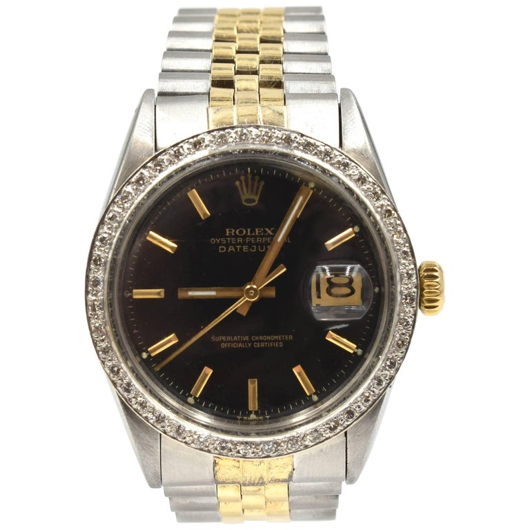 Rolex Yellow Gold Stainless Steel Vintage Datejust Automatic Wristwatch Ref 1601