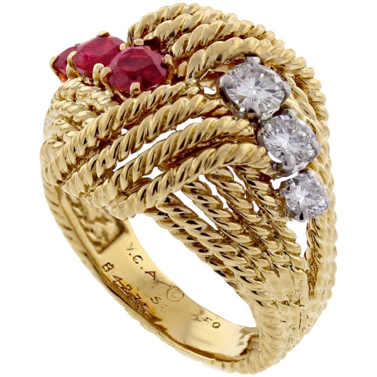 Van Cleef & Arpels Diamond Ruby Cocktail Gold Ring For Sale