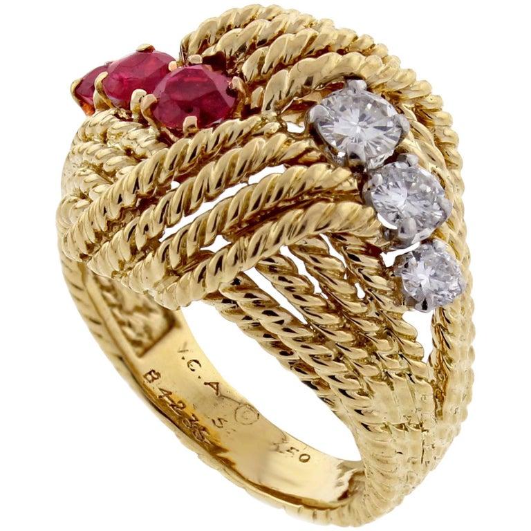 Van Cleef & Arpels Diamond Ruby Cocktail Gold Ring
