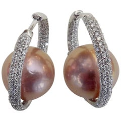 Michael Kneebone Inside Outside Pave Diamond Pink Pearl Hoop Earrings