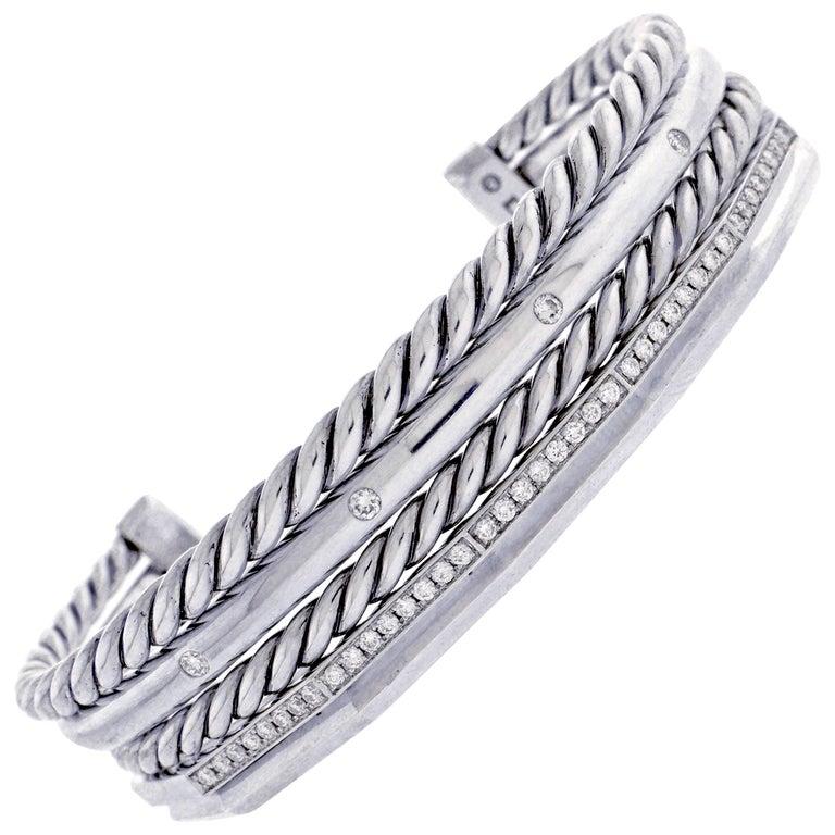 David Yurman Stax Narrow Cuff Bracelet with Diamonds