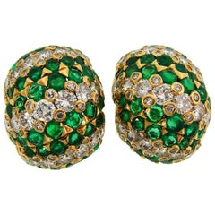 Tiffany & Co. Emerald Diamond Yellow Gold Earrings