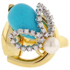 Gucci Turquoise and Diamond Bee and Bit Ring