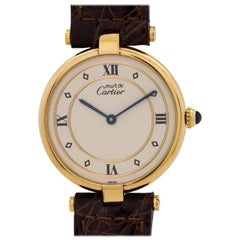 Cartier Man's Vermeil Vendome Tank Quartz Wristwatch, circa 1990s