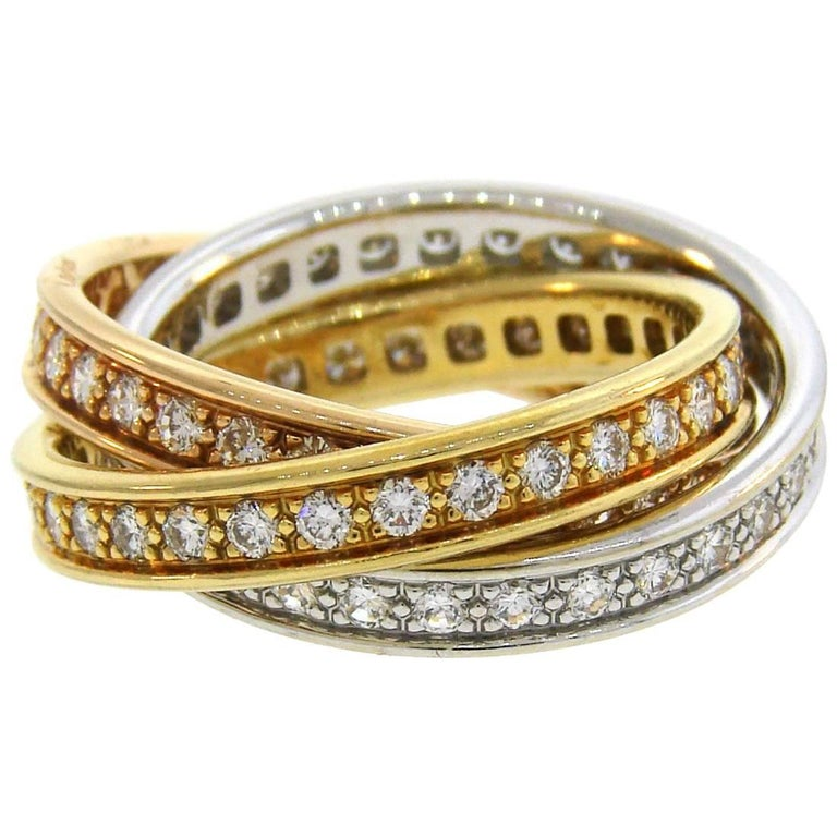Cartier Diamond Gold Trinity Band Ring