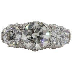 Antique Three-Stone Diamond Platinum Ring