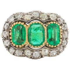 Three-Stone Colombian Emerald  Diamond Gold Ring
