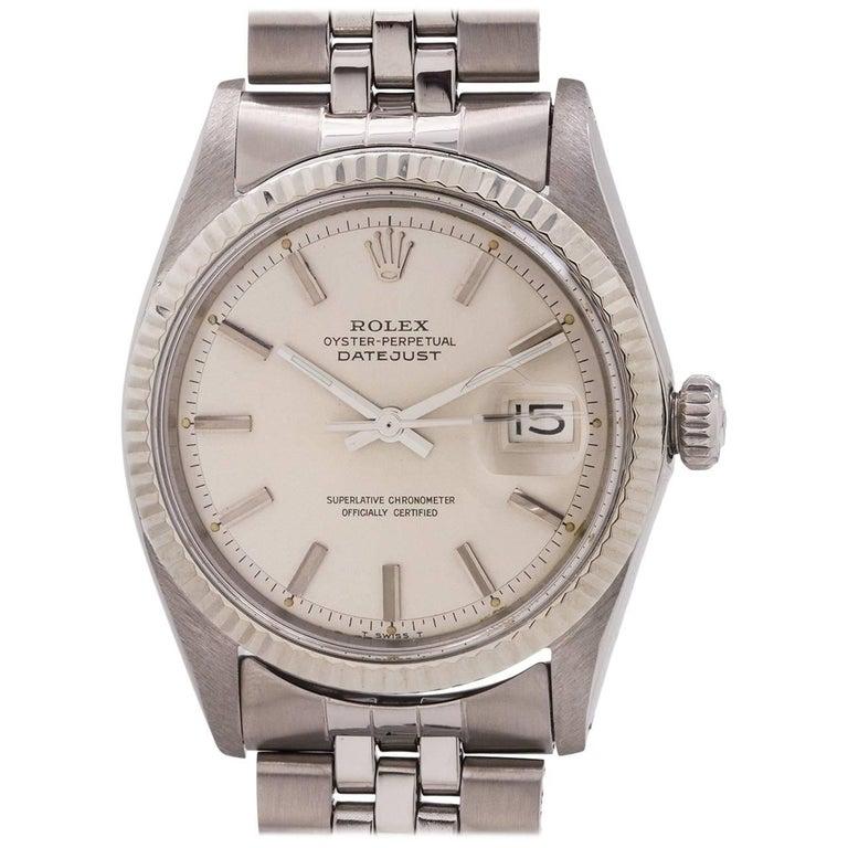 Rolex White Gold Stainless Steel Datejust Self-Winding Wristwatch, circa 1968