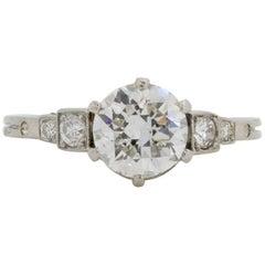 European Antique Diamond Platinum Ring