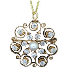 Victorian Natural Pearl and Diamond Gold Pendant