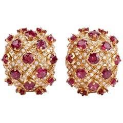 1980 Ruby Diamond Yellow 18 Karat Gold Clip-On Earrings