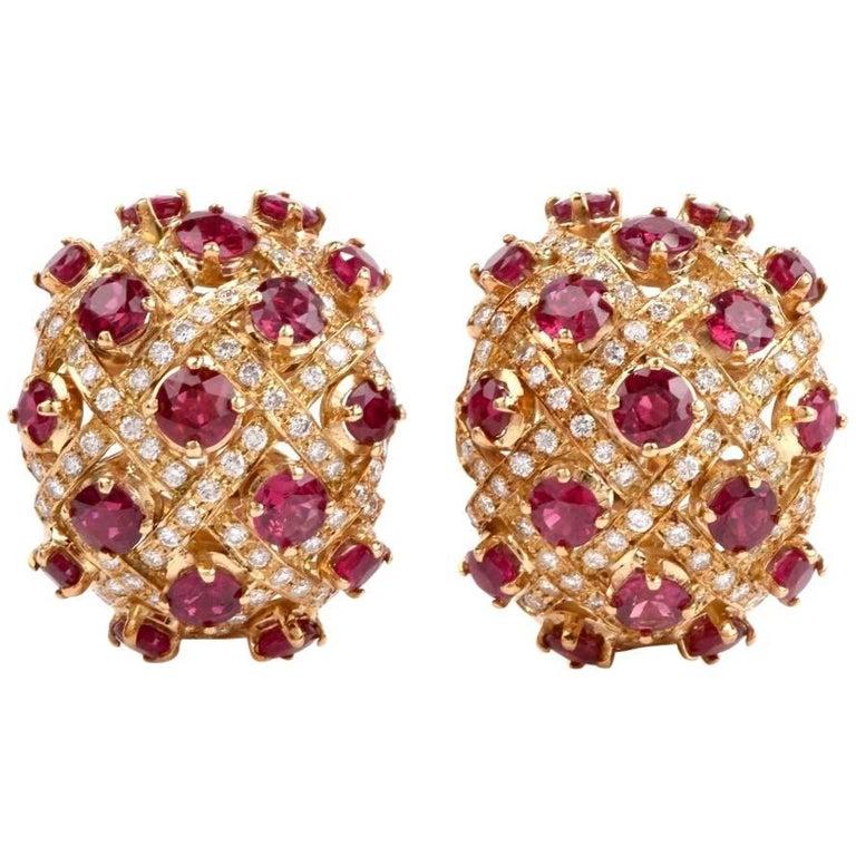 1980 Ruby Diamond Yellow 18 Karat Gold Clip-On Earrings