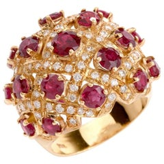1980 Dome Design Ruby Diamond Yellow Gold Cocktail Ring