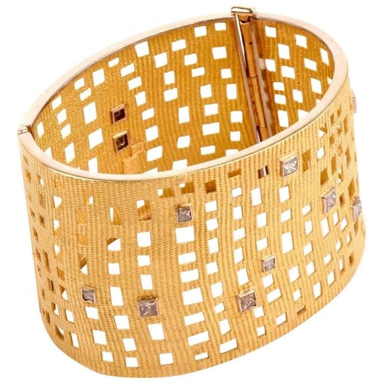 Modern Wide Diamond Gold Open Work Bracelet For Sale