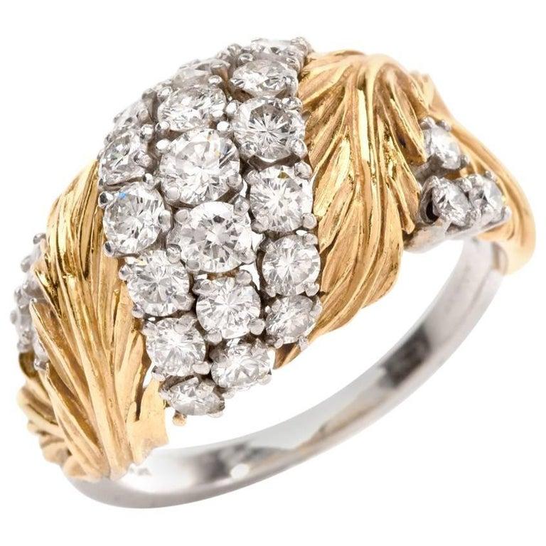 1970s Diamond Platinum Gold Leaf Design Cocktail Dome Ring