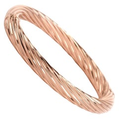 Italian Rose Gold Wire Twisted Cabel Bangle Bracelet