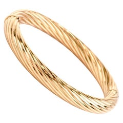 Modern Italian 18 Karat Yellow Gold Rope Bangle Bracelet