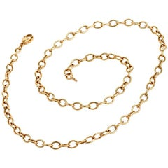 Solid 18 Karat Oval Link Chain Necklace