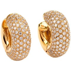 Italian Pave Diamond Yellow Gold Huggie Earrings