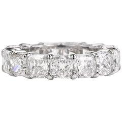 10.90 Carat Cushion Diamond Platinum Eternity Band Ring