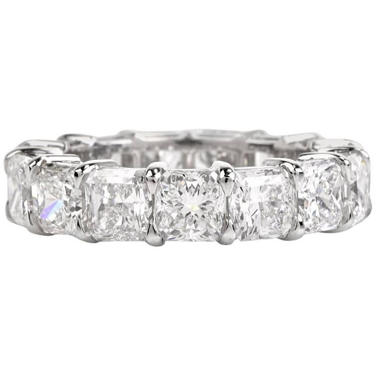 10.90 Carat Cushion Diamond Platinum Eternity Band Ring For Sale