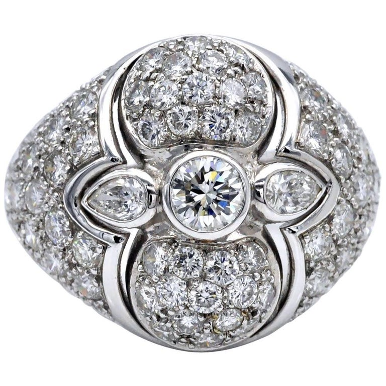 Diamond and White Gold Domed Cocktail Ring