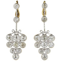 Art Deco 4.90 Carat Old Mine Diamonds Platinum Earrings