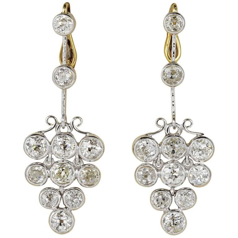 Art Deco 4.90 Carat Old Mine Diamonds Platinum Earrings