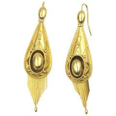 Victorian 18 Karat Yellow Gold Dangle Drop Earrings