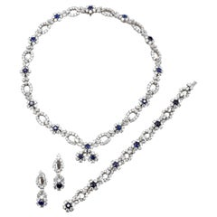 Harry Winston Diamond Sapphire Necklace Bracelet Earclips Set