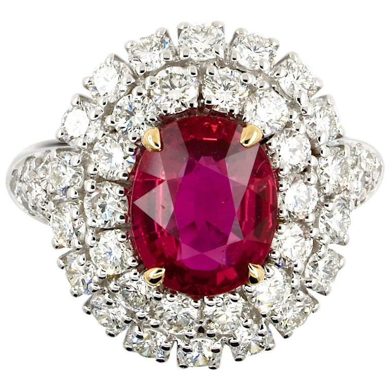 5.31 Carat GRS Certified Unheated Red Ruby and Diamond Ring For Sale