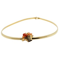 Van Cleef & Arpels Coral Gold Necklace Brooch Pendant