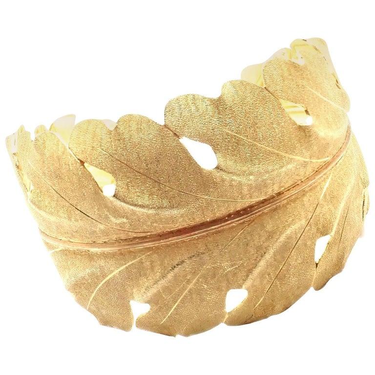 Vintage Mario Buccellati Leaf Motif Yellow Gold Wide Cuff Bracelet