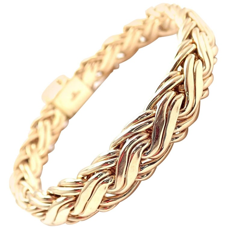 b058febfac9 Tiffany and Co. Russian Weave Wide Link Yellow Gold Bracelet at 1stdibs