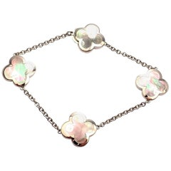 Van Cleef & Arpels Pure Alhambra Grey Mother-of-Pearl White Gold Link Bracelet
