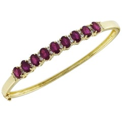 Oval Ruby and Diamond Bangle 4.95 Carat