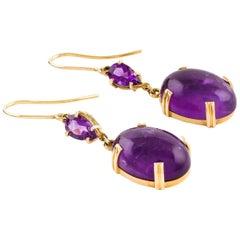 Kian Design 18 Carat Yellow Gold Cabochon Cut Oval Amethyst Dangle Drop Earrings
