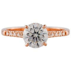 18 Carat Rose Gold 1.5 Carat GIA Certified Round Diamond Engagement Ring