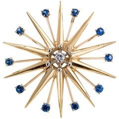 Modernist 1950s Starburst Sapphire Diamond Gold Palladium Brooch Pendant