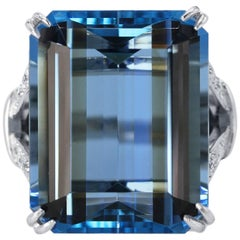 43.08 Carat Aquamarine and Diamond Ring