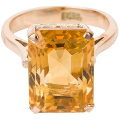 14 Carat Yellow Gold Emerald Cut Citrine Cocktail Ring