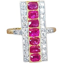 18 Carat Gold Ruby and Diamond Art Deco Plaque Ring