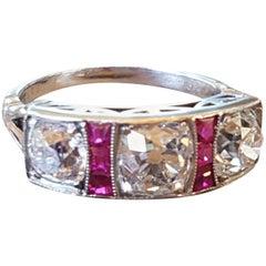 18 Carat White Gold Art Deco Ruby and Diamond Ring 2.62 Carat