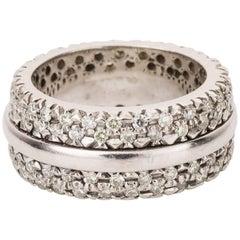 18 Carat White Gold Pave Set Diamond Band Ring