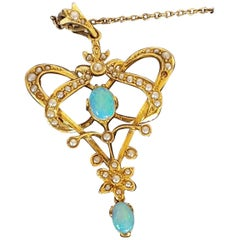 Edwardian 9 Carat Gold Opal and Seed Pearl Pendant Art Nouveau