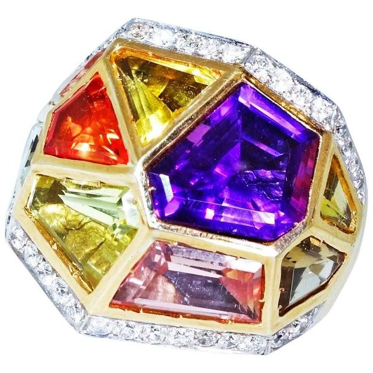 Multi Gem Diamond Gold Ring