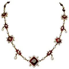 Antique Enamel, Diamond and Natural Pearl Necklace, circa 1880